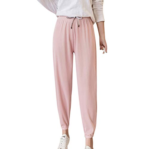 PIKAqiu33 Women High Waist Large Size Loose Trouser Casual Harem Pants Spring and Summer, for Christmas New Year (Pink-3XL)