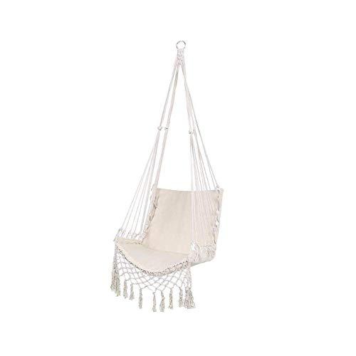 Iwinna Columpio y silla colgante – Silla hamaca de lona, cómoda y resistente, columpio de macramé para interiores, exteriores, dormitorio, patio, camping, color negro y blanco