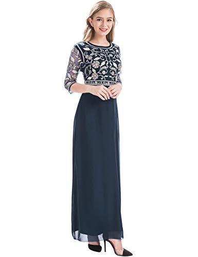 Alicepub V-Neck Lace Forest Wedding Dress Long 3/4 Sleeve Dresses for Women Formal Party, US10