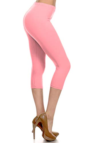 NCPRX128-Pink Capri Solid Leggings, Plus Size