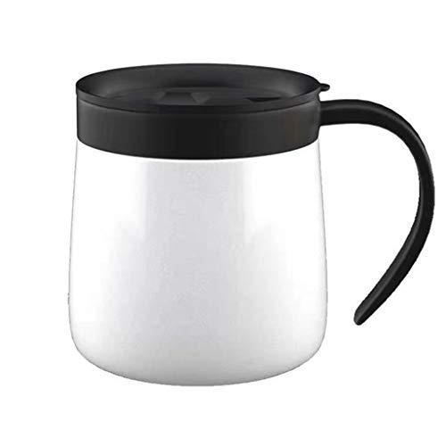 Frasco De Vacío Taza De Café Mango De Oficina con Tapa Taza De Agua De Negocios Acero Inoxidable (Color : Blanco, Size : 9×8.5×10cm)