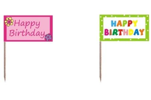 """20 Deko - Picker """"Happy Birthday"""" Flaggenpicker / Fahnenpicker"""