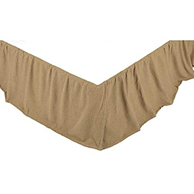 VHC Brands 29598 Burlap Natural Ruffled King Bed Skirt