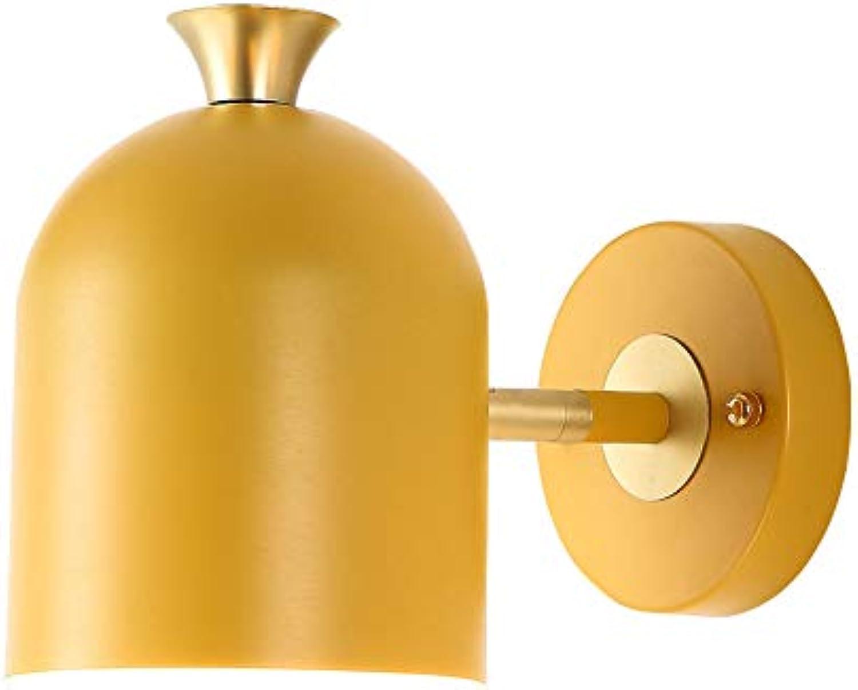 Wandlampe Nordic Creative Farbe Single Head Corridor Bedroom Art Bedside Round Lighting Gelb
