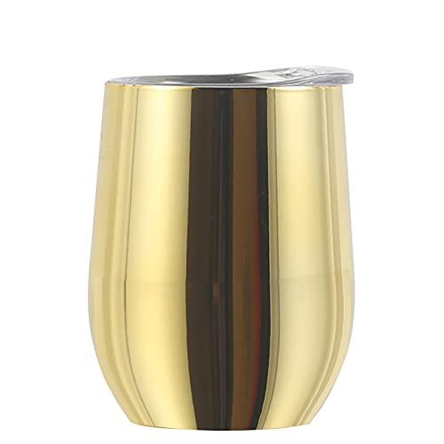 Taza reutilizable de 340 ml para vino/café con tapa, de acero inoxidable, doble pared, aislada al vacío, para café, cóctel y leche (oro galvanizado, 7,9 x 11,3 cm)