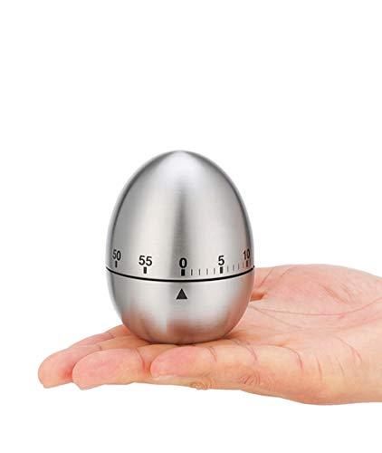 Egg Timer Timer Clock Kitchen Timer Cooking Timer Reminder Timer Mechanical Reminder Cute Timer Mechanical Rotating Alarm with 60 Minutes for Cooking (Silver,Egg Shape)