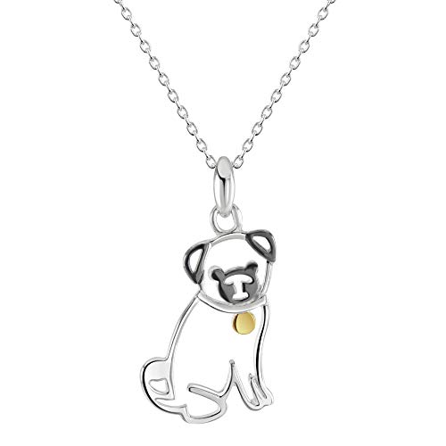 Dew Sterling Silver Pug with Gold Plate Pendant 90346GD028