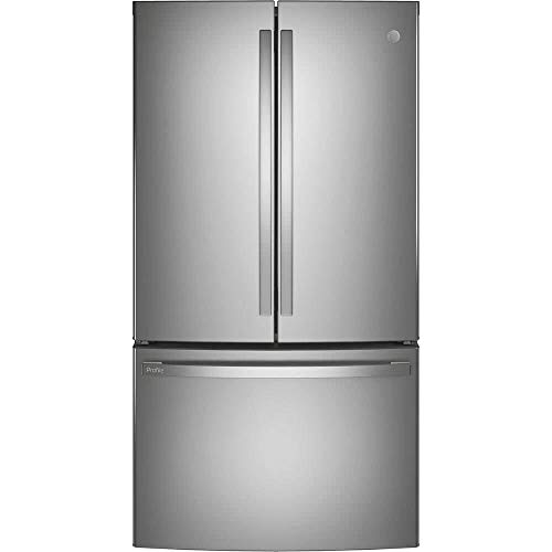 GE Profile PWE23KYNFS 36' Energy Star Counter Depth French Door Refrigerator with 23.1 cu. ft. Capacity Internal Water Dispenser TwinChill Evaporator and Showcase LED Lighting in Fingerprint Resistant Stainless Steel
