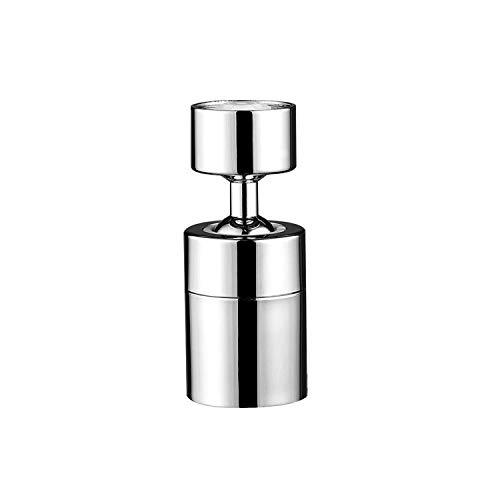 Insputer Aireador de grifo de fregadero de cocina latón macizo giratorio de 360 grados ángulo grande aireador de grifo 2 rociadores rosca hembra de 22 mm con adaptador de rosca macho de 24 mm