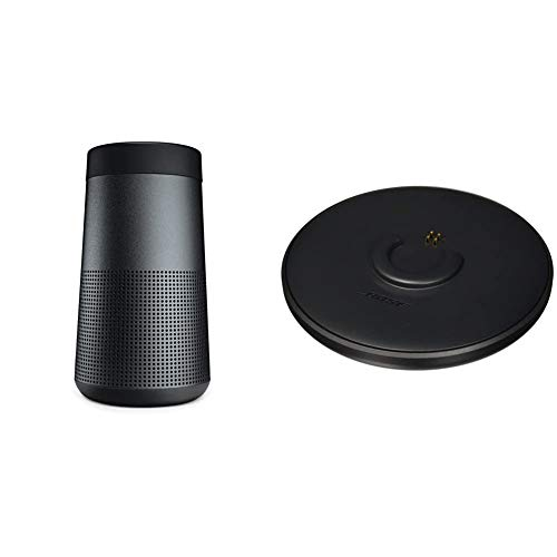 The Bose SoundLink Revolve, the Portable Bluetooth Speaker with 360 Wireless Surround Sound, Triple Black & Bose SoundLink Revolve Charging Cradle Black