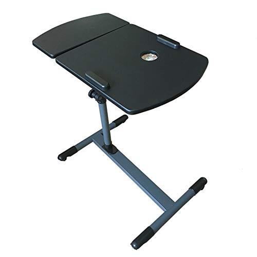 LAA Mesa auxiliar ajustable para escritorio, cama, sofá, mesa lateral para aperitivos, oficina, sala de conferencias, escuela, mesa auxiliar portátil (color: negro)