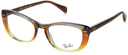 Ray-Ban Women's RX5366 Cat Eye Eyeglass Frames, Trigradient Brown, Violet, Yellow/Demo Lens, 52 mm