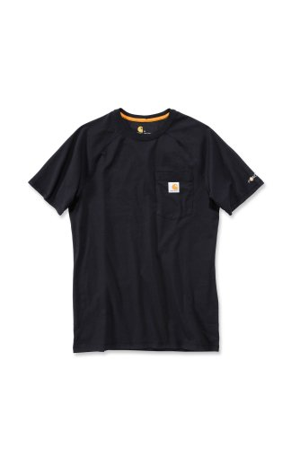 Carhartt Force® Cotton Short Sleeve T-Shirt Baumwolle mit Brusttasche 100410 (L, schwarz)