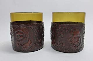 Vintage Don Quijote Embossed Leather Wrapped Set Of Two Glasses