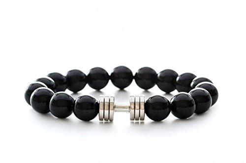 Schwarzes Onyx Hantel armband Onyx Perlen Armband Schwarzes Perlenarmband Fitness-Armband Fitnessschmuck