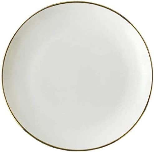 MSCHEN Gold Max 41% OFF Edge Ceramic Plate White Porcelain Tableware Dish Weekly update We