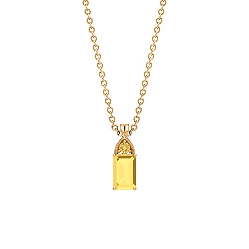 Rosec Jewels 10 quilates oro amarillo redonda Octagone Yellow Citrine