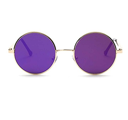 retro sunglasses flat circular metal color film Prince sunglasses (Gold frame Purple Lens)