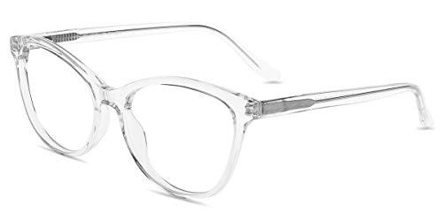 Firmoo Blaulicht Brille Katzenaugen Damen, Entspiegelte Brille ohne Sehstärke, Blaulichtfilter Computerbrille gegen Kopfschmerzen, UV Blaulicht Schutzbrille Transparent