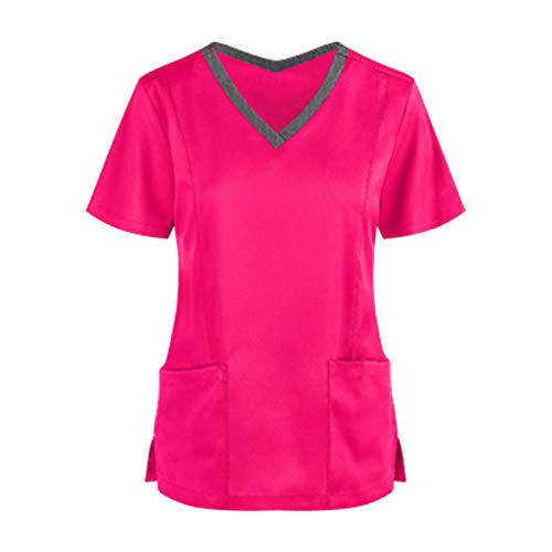 Damen Pflege Kasacks Kurzarm V-Neck T-Shirt Oberteil Frauen Arbeitskleidung Pflege Uniformen Schlupfkasack Sommer Freizeit Pflege Kleidung Schlupfhemd mit Taschen