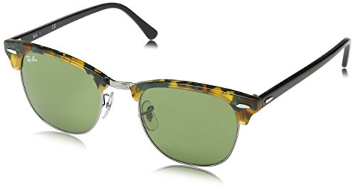 Ray-Ban Unisex Clubmaster Sonnenbrille, Mehrfarbig (Gestell: havana/Schwarz, Gläser: grün Klassisch 11594), Large (Herstellergröße: 55)