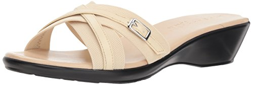 Athena Alexander Women's BINDY Wedge Sandal, Beige Stretch, 8 M US