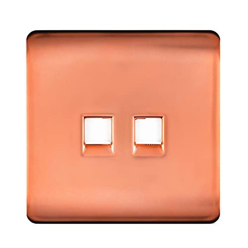Trendi - Enchufe para teléfono (conector RJ45, Cat 5e y Cat 6 PC), color cobre