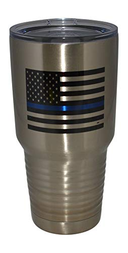 Thin Blue Line Flag Police Officer Large 30oz Stainless Steel Travel Tumbler Mug Cup w/Lid Law Enforcement PD Gift