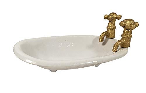zeitzone Seifenschale Alte Badewanne mit Wasserhahn Nostalgie Seifenhalter Gusseisen Weiß