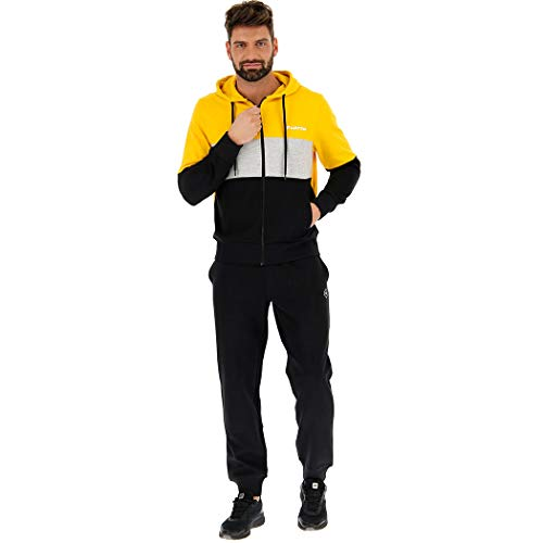 Lotto LIFES TUTA SUIT UOMO IN FELPA CAPPUCCIO SPORT DIAMOND HD RIB FL 211733 Taglia S Colore principale NECTAR YELLOW/ALL BL