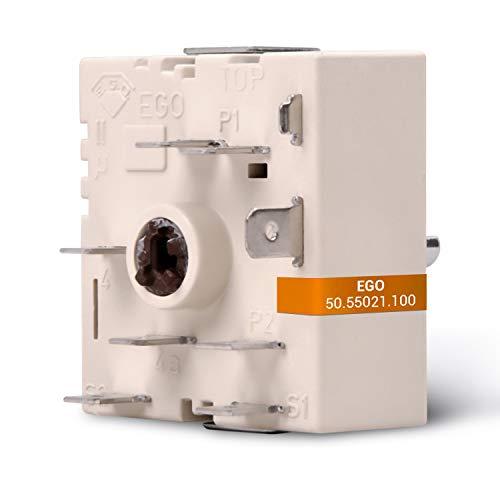 Energieregler Kochplattenschalter Ersatz für EGO 50.55021.100 AEG 3051706210 Zweikreisregler Schalter 230V Regler für Kochfeld Herd Rechtsdrehend