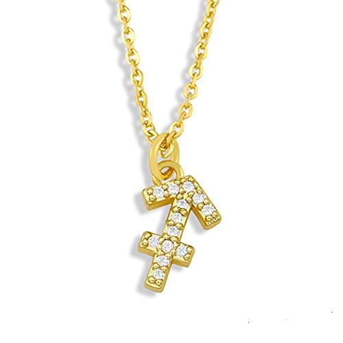 QIN Collar de clavícula del Zodiaco de Aries Chapado en Oro, Collar con Colgante de constelación de 12 Diamantes de imitación para Mujer, joyería