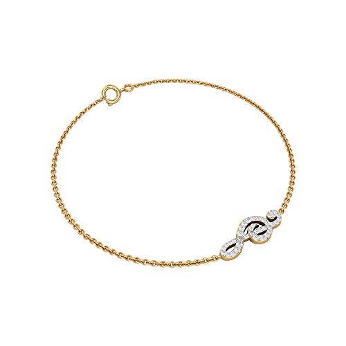 Pulseras de cadena de oro sólido para mujer, diseño de notas musicales, redondas, con certificado HI-SI, pulseras de abalorios antiguas para fiestas, regalo para ella amarillo