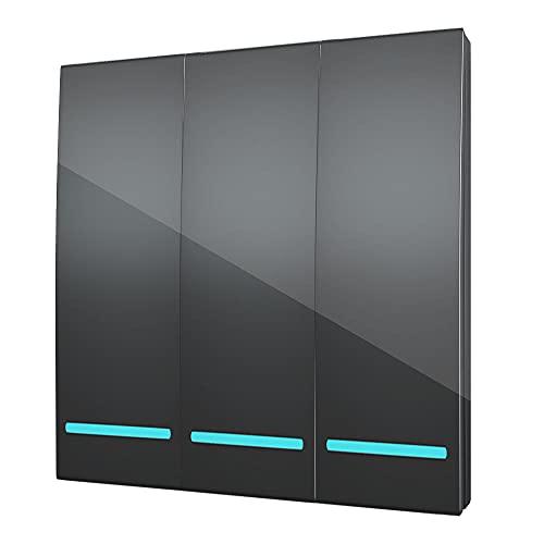 Panel de pared para el hogar, 433 MHz, inalámbrico, interruptor de luz RF, mando a distancia, 90 – 250 V, receptor, lámpara de techo, 3 marchas, color negro
