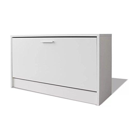 vidaXL Banco Zapatero de Color Blanco Dimensiones 80 x 24 x 45 cm Material: MDF