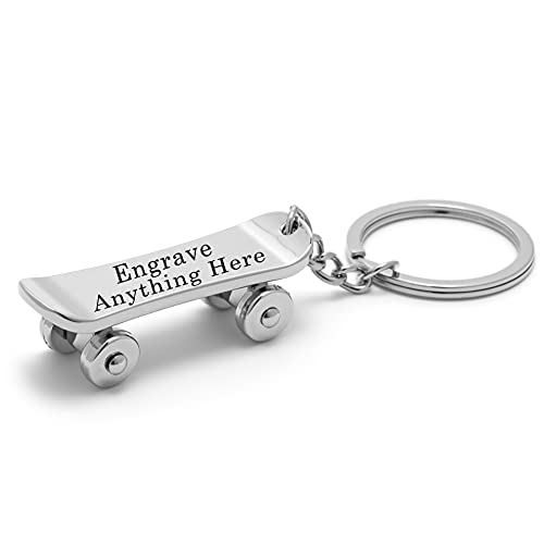 Personalized Skateboard Keychain - Metal Skateboard with Moving Wheels - Engraved Gift for Women, Men, Boyfriend, Dog, Couples, Husband, Son and More. Engrave Anything on the Skateboard Deck (Silver)