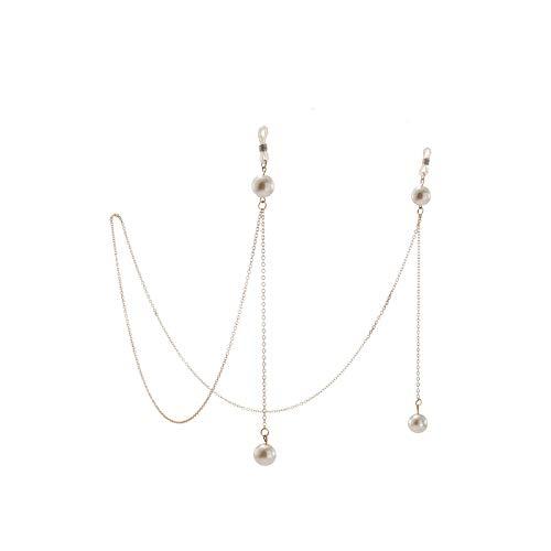 Cordón para gafas, cadena para mujer, gafas de sol de metal, con perlas y cordón de cristal, color dorado y plateado