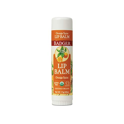 Badger - Orange Spice Lip Balm, Made with Organic Olive Oil, Organic Lip Balm, Natural Lip Balm, Large Lip Balm, Moisturizing Lip Balm, 0.6 oz