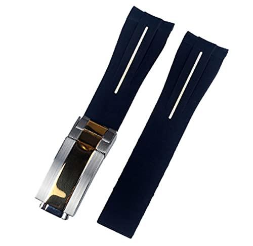 YYCHER Correas de reloj de goma para Rolex DAYTONA de 20 mm para hombre, accesorios de reloj de silicona (Color de la correa: blanco, plata, oro, ancho de la correa: 20 mm con logotipo)