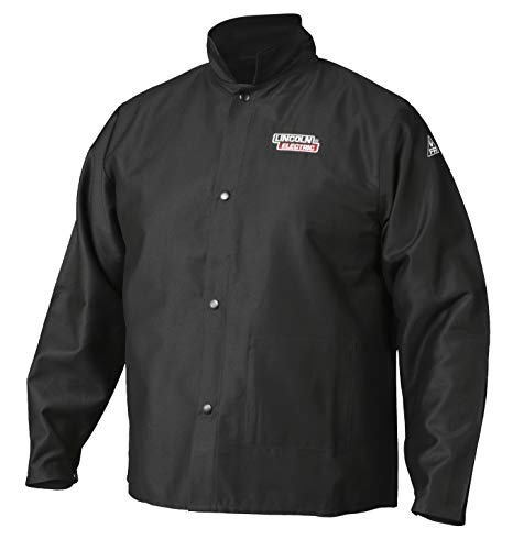 Lincoln Electric Premium Flame Resistant (FR) Cotton Welding Jacket | Comfortable | Black | Large | K2985-L