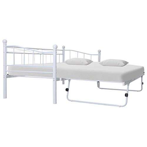 AYNEFY - Estructura de sofá cama de acero, estructura de cama de acero blanco con 4 ruedas, 2 bloqueables, 180 x 200 / 90 x 200 cm