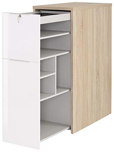 MAJA Möbel eDJUST Anstellcontainer, Spanplatte, Edelbuche - Lack weiß Spiegelglanz, 43,8 x 115,0 x 80,0 cm
