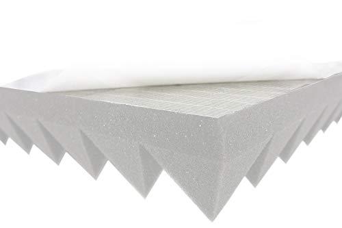 Pyramidenschaumstoff SELBSTKLEBEND TYP 50x50x6 (Hell Grau) Akustikschaumstoff Schalldämmmatten zur effektiven Akustik Dämmung