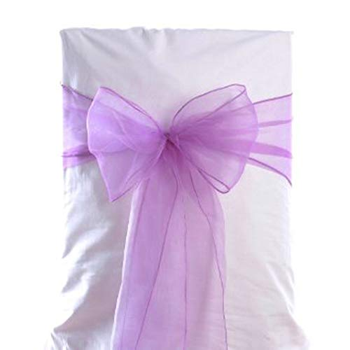 VDS - 10 PCS Elegant Organza Chair Sashes Bows Chair Back Tie Ribbon for Wedding Party Banquet Decor - Light Purple