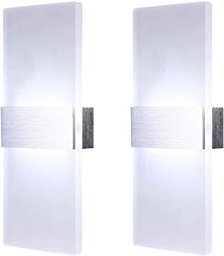 Lightsjoy 2 Stück Wandleuchte LED Innen 12W Wandlampe Modern Acryl Wandbeleuchtung Flurlampe Innenleuchten für Wohnzimmer Treppenhaus Schlafzimmer Flur Küche Kaltes Weiß 6000K