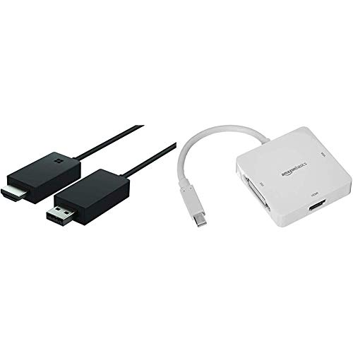 Microsoft Wireless Display V2 Adapter - Black & AmazonBasics Mini DisplayPort to HDMI/DVI/VGA Adapter - White