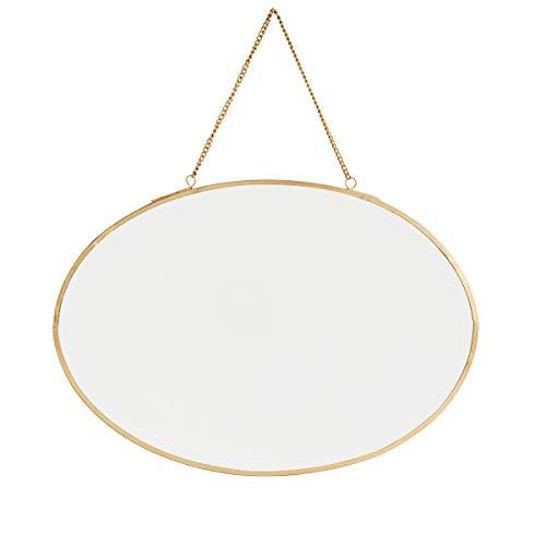 Madam Stoltz Espejo ovalado con marco de hierro para colgar en oro, espejo de pared de 30 x 21 cm