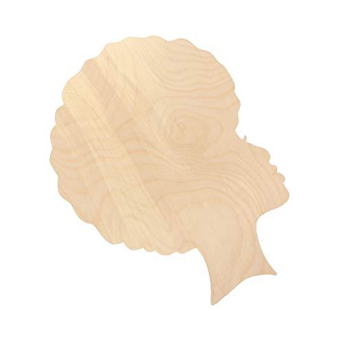 Artibetter Afro Mujer Cabeza Bandeja Recortes de Madera sin Terminar Africano Chica Cara Silueta Plantilla para Manualidades DIY Corona Puerta Colgador Fabricación