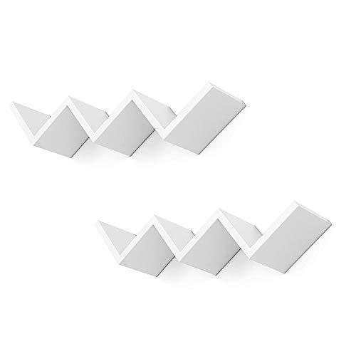 BuyStar Set 2 Mensole da Parete Zig Zag Design Moderno in Legno, profondità 12 Cm, Bianco o Grigio Rovere