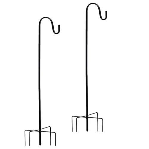 Hemoton Schäferstock Garten Metall Schäferhaken Gartenstab 2pcs Laternenstab Höhe 91cm Solarleuchten Laternen Gartenlichter Windspiel Vogelkäfige Blumenkörbe Vogelfutterstation Halterung